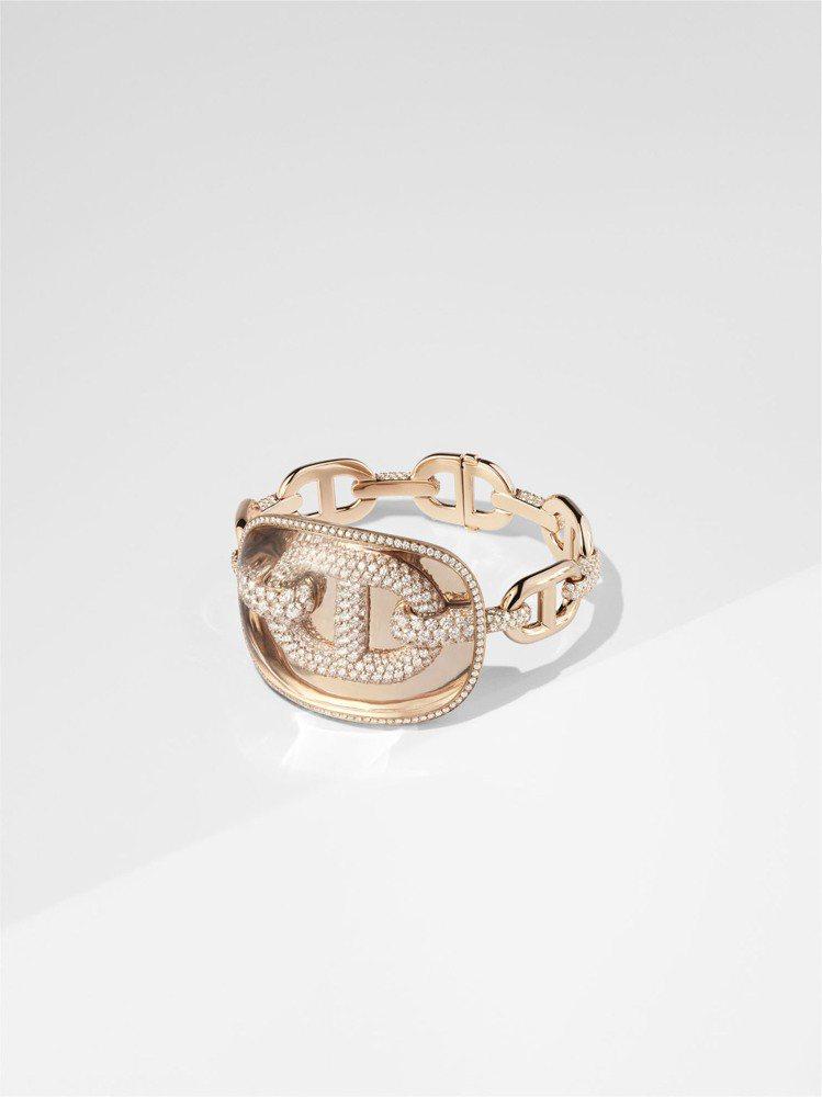Chaîne d'ancre zoom石英與玫瑰金鑲白鑽手環,424萬5,800...