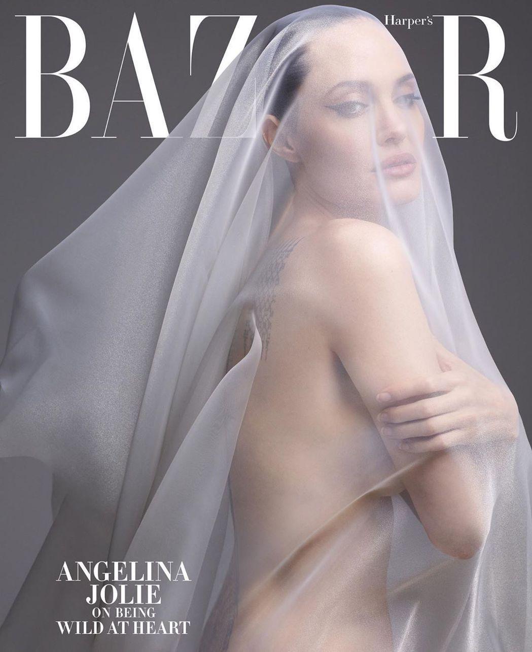 安琪莉娜裘莉裸身登上「Harpers BAZAAR」雜誌封面,期待掀起話題。圖/
