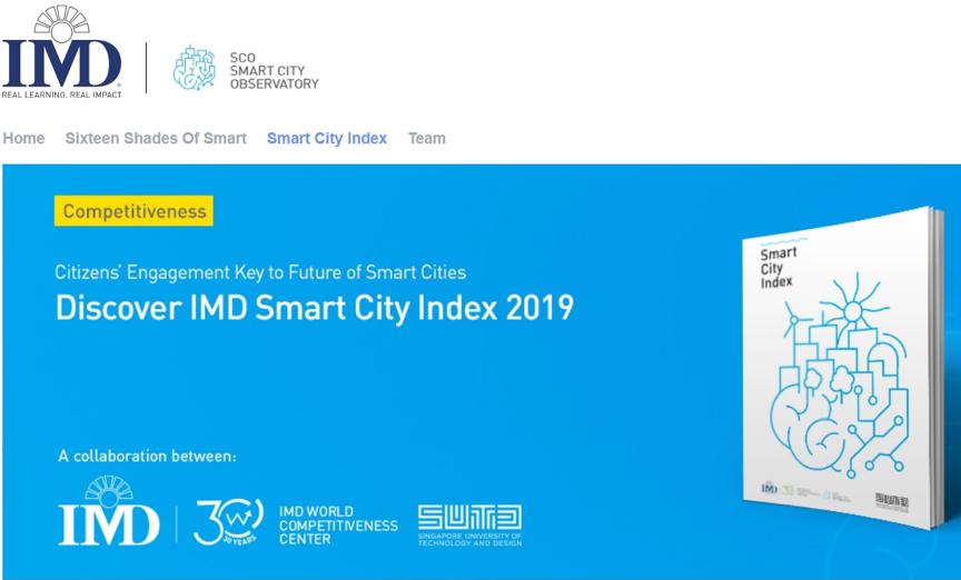 「2019 IMD全球智慧城市指數」網站示意。 臺北市政府資訊局/提供
