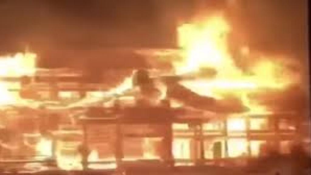 日本沖繩首里城發生火災,2019年10月。 網路圖片