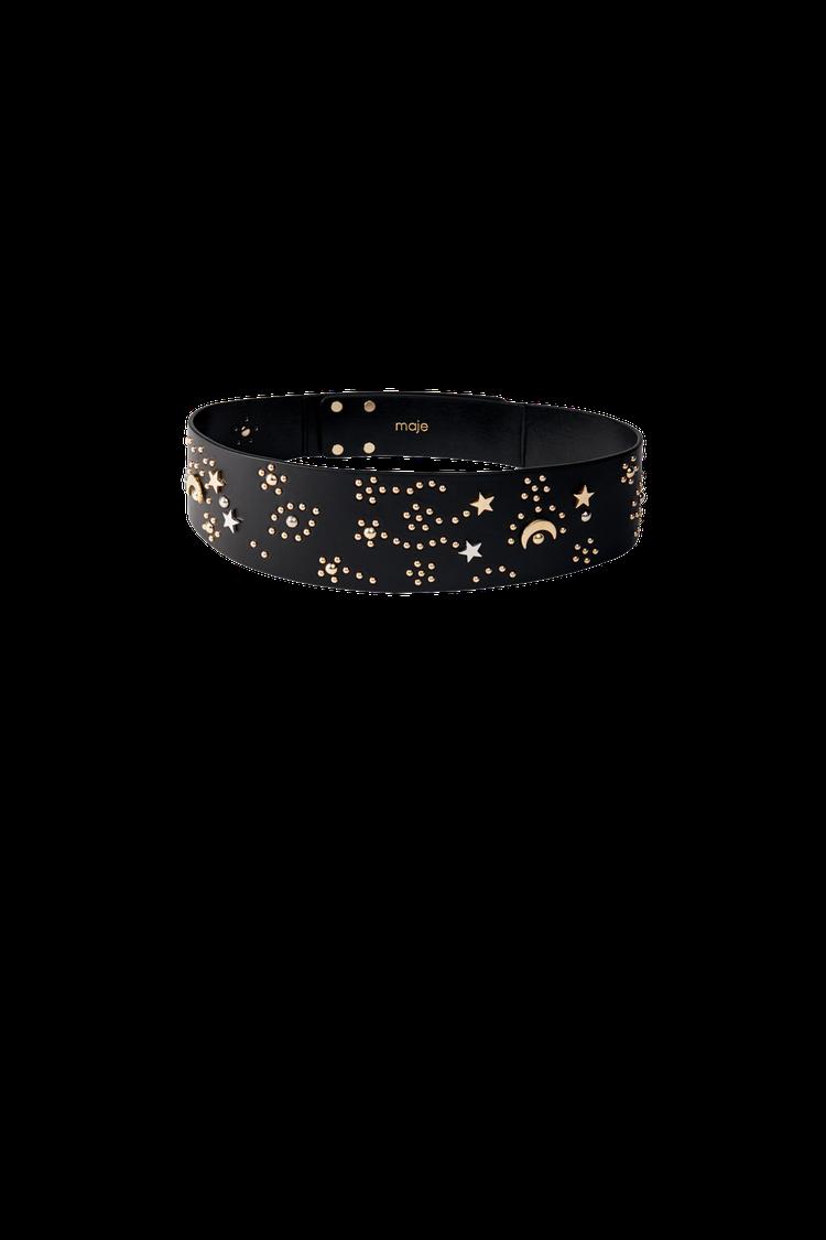 maje星空設計鉚釘黑色皮帶,售價6,030元。圖/maje提供