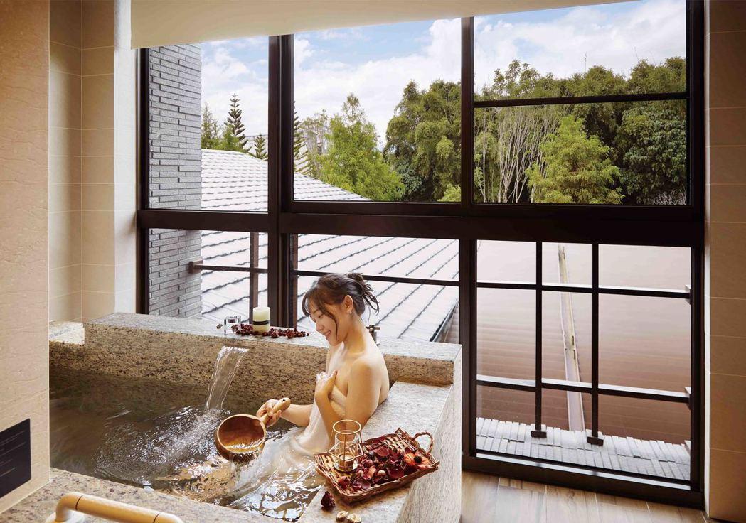 宜蘭力麗威斯汀度假酒店湯屋碳酸氫鈉泉提供放鬆舒活。圖/宜蘭力麗威斯汀度假酒店提供