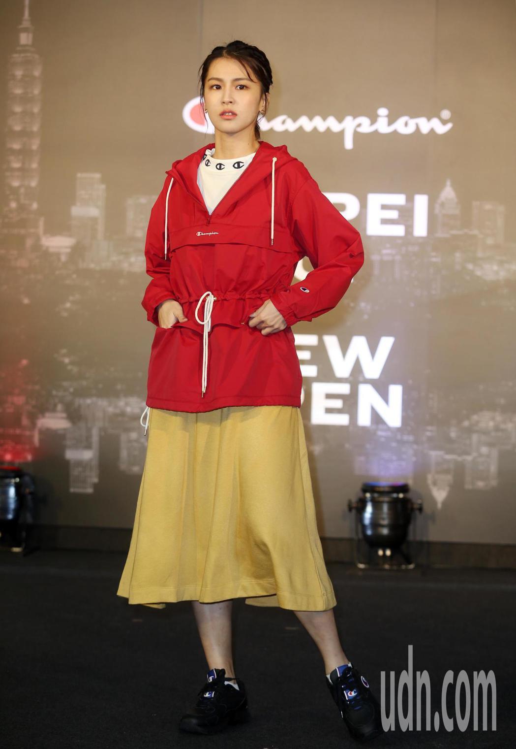 曾沛慈出席Champion進駐台北時尚重鎮101全台第一間品牌形象概念店 。記者...