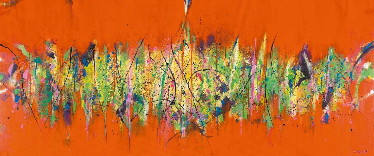 陳正雄《愛在林梢》系列一,2019 年,壓克力、畫布,115x260 cm。(圖...