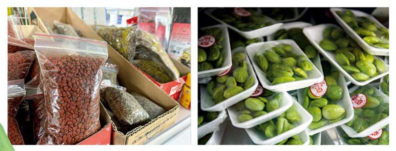 除了菜攤上的一般生鮮蔬菜,百貨超市內也有許多食材,左上圖為胭脂樹子,是常用的天然...