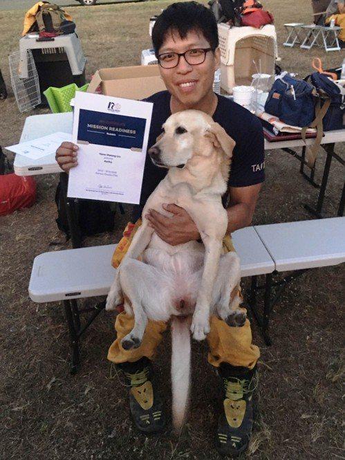 特搜分隊領犬員劉彥煌與Kathy兩人合作無間,取得MRT搜救犬救援能力認證。記者...