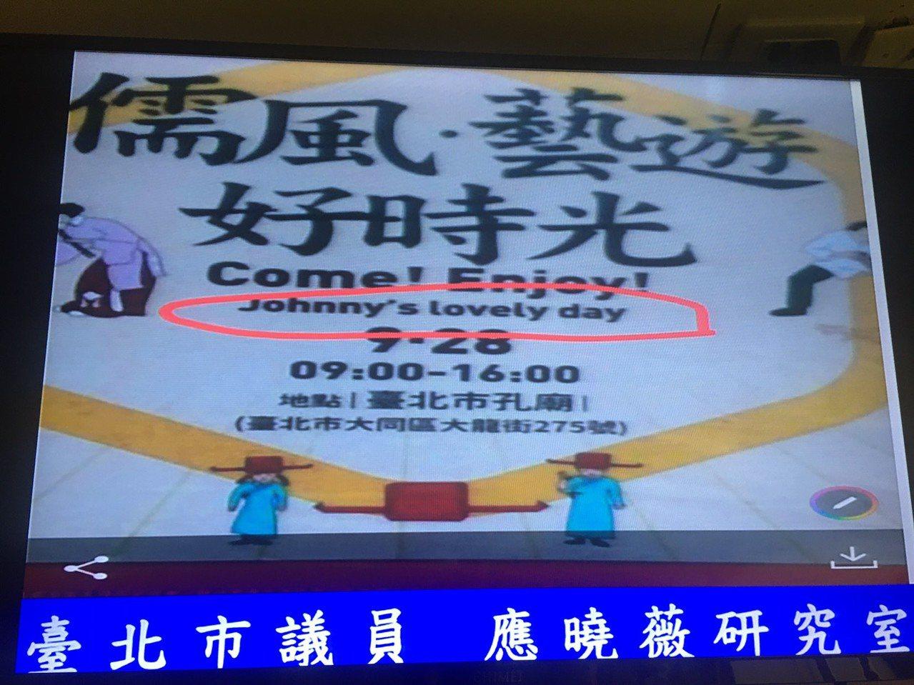 市議員應曉薇亮出一張海報,市府舉辦的孔子誕辰活動竟把孔子英文姓名改名為「John...