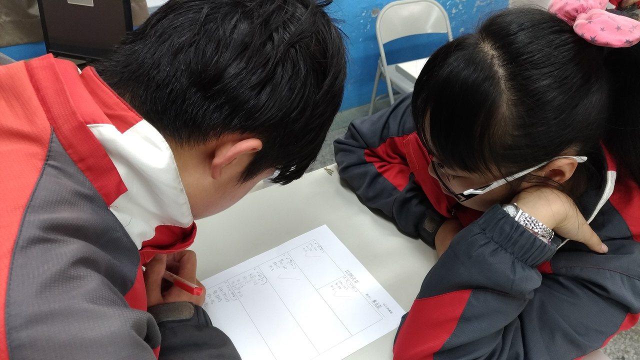 接受輔導的孩子在老師勉勵下,利用課餘,用心學習,改變自己。圖/褒忠國中提供