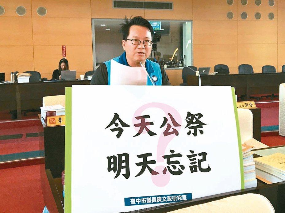 國民黨議員陳文政清查8年來台中市耕地面積減少1300多公頃,集中在農地工廠密集的區域。 記者洪敬浤/攝影