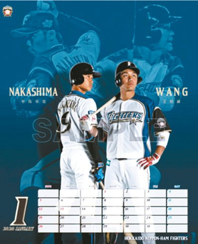 王柏融(右)將是日本火腿官方年曆1月份主角。 圖/取材自網路