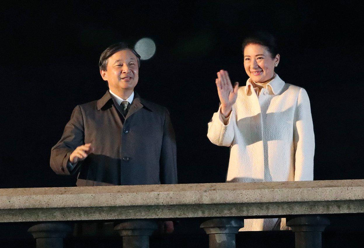 圖為日皇德仁與皇后雅子出席即位祝賀活動。 美聯社