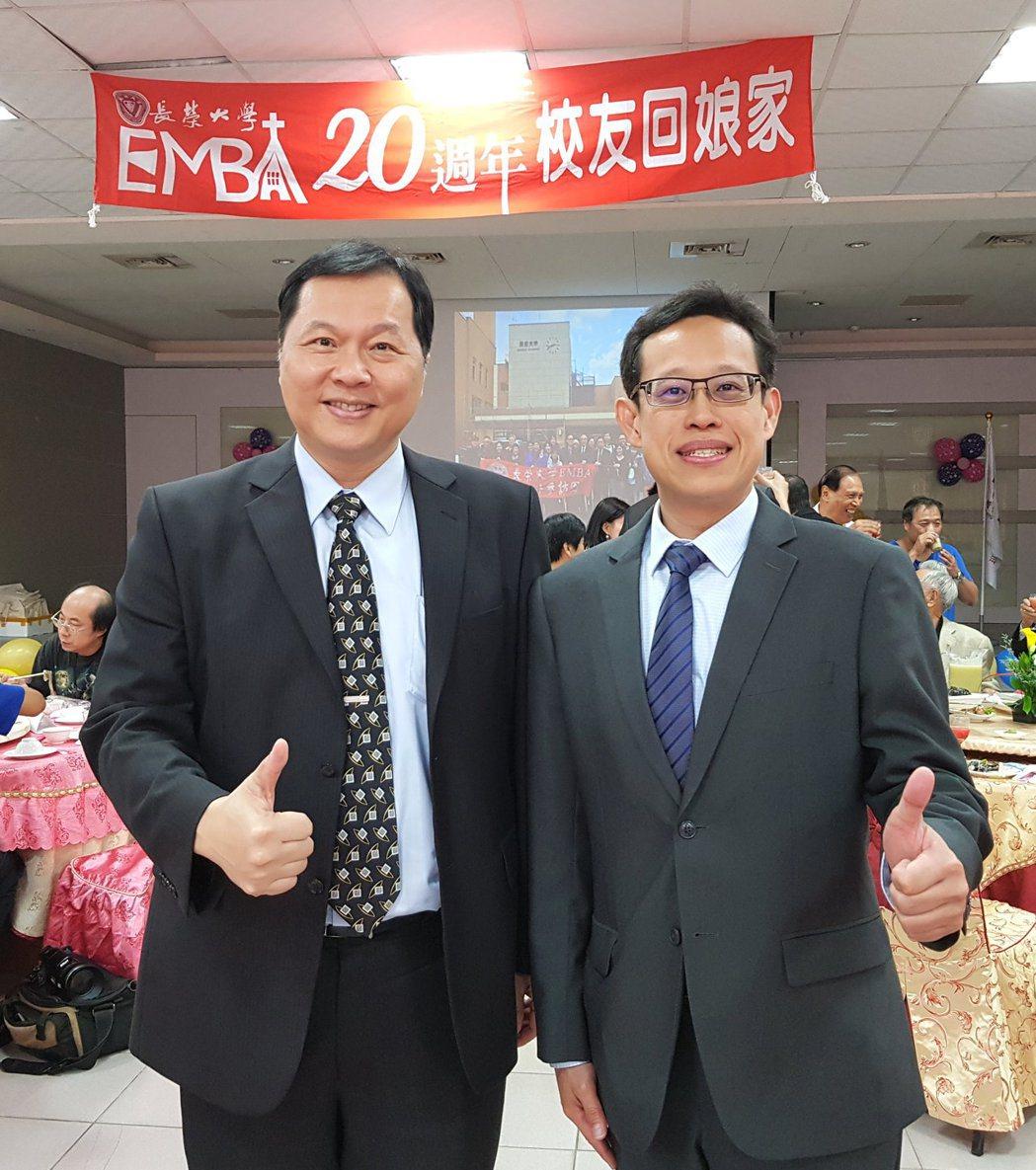 藝群醫美集團總裁王正坤醫師(左)、長榮大學EMBA翁耀臨執行長一同合影....