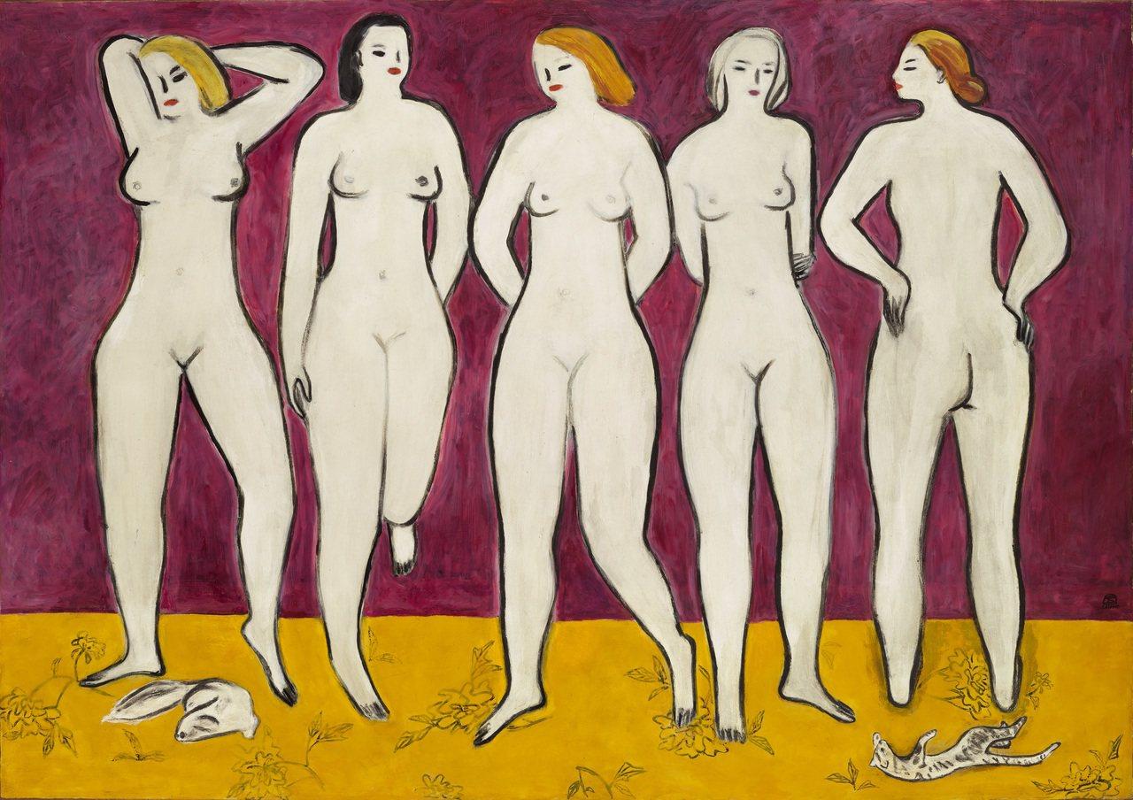 「五裸女」是常玉尺幅最大、裸女數量最多的裸女油畫。圖/佳士得提供