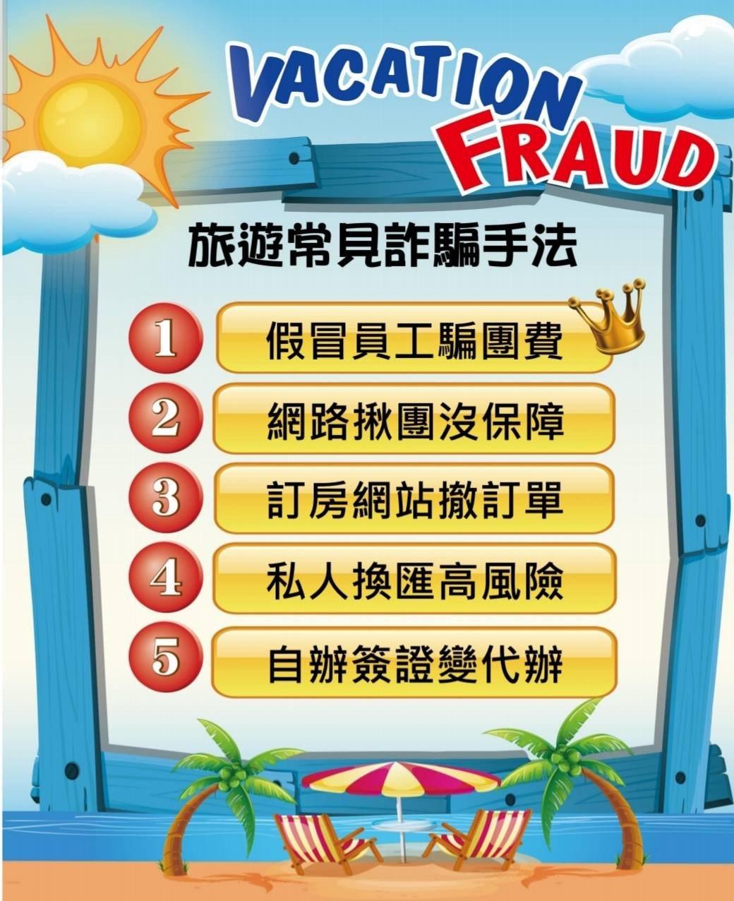 台北國際旅展登場,刑事局宣導避免受騙「全攻略」,提醒民眾付費應簽訂契約或取得收據...