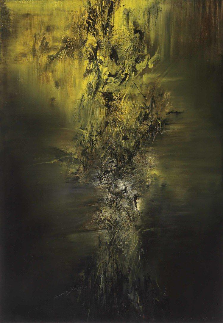 趙無極在1959年耶誕夜的畫作,估價約台幣3億1千4百萬元。圖/佳士得提供