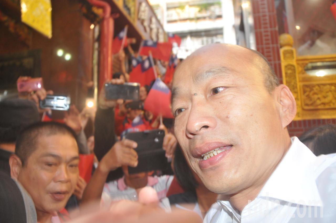韓國瑜要大家看他的臉,高清無碼版就這張啦。記者游明煌/攝影