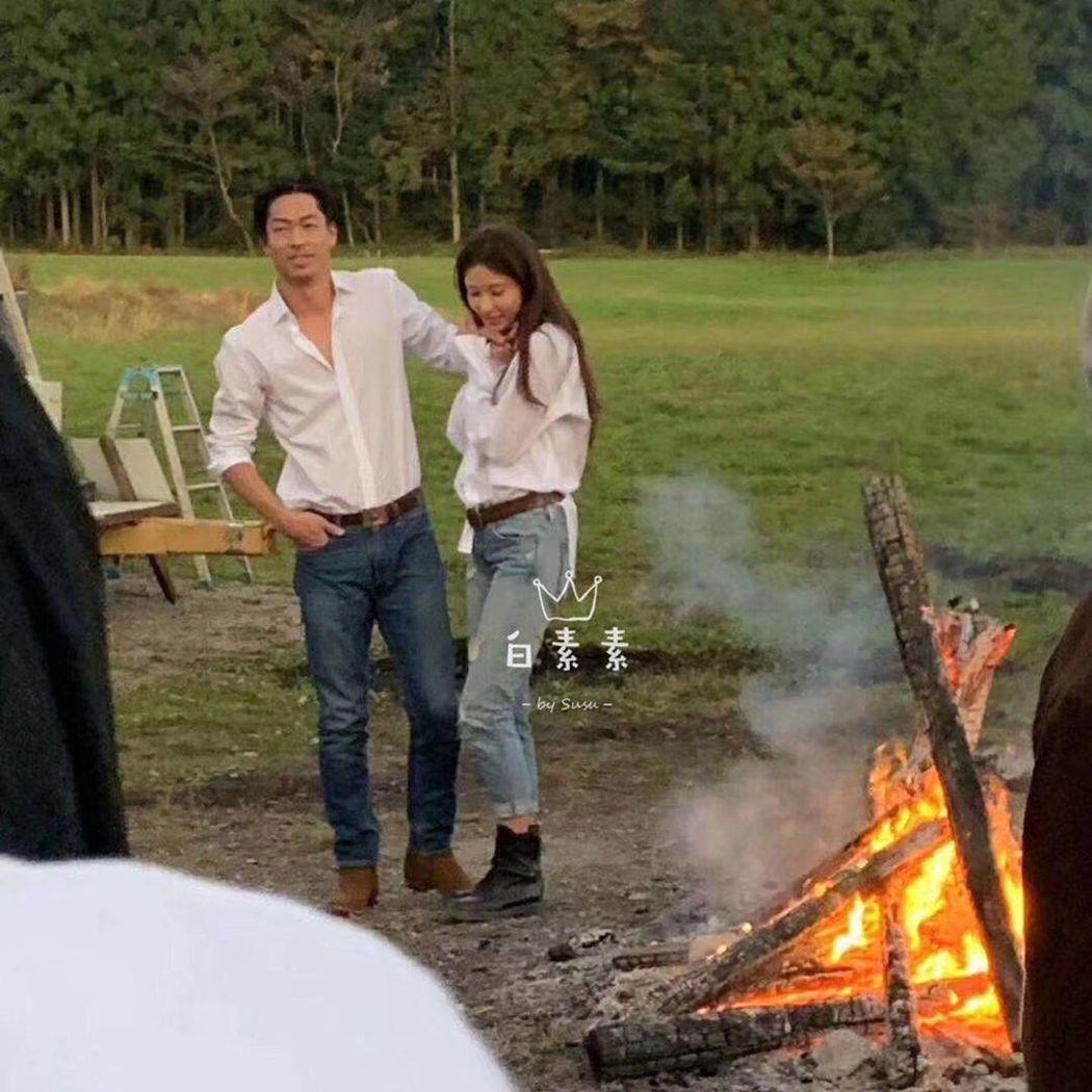 網路上流傳林志玲與Akira拍婚紗照的樣子。 圖/擷自IG