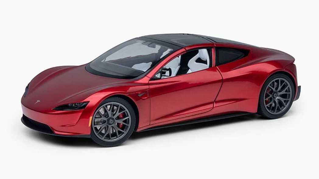 Tesla Roadster 金屬模型車。 摘自Tesla
