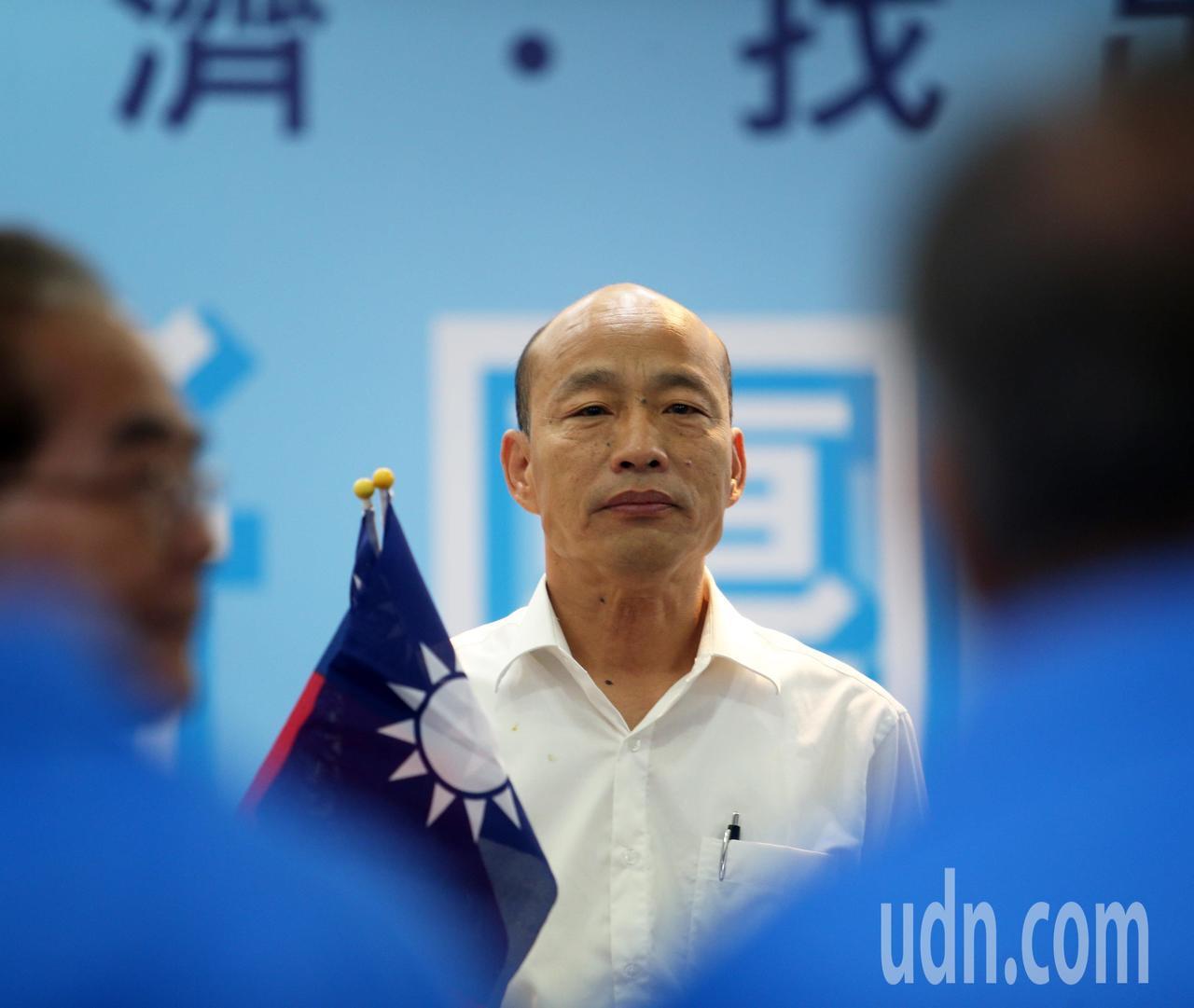 國民黨總統參選人韓國瑜昨天回到高雄進行競選總部幹部授證大會。記者劉學聖/攝影