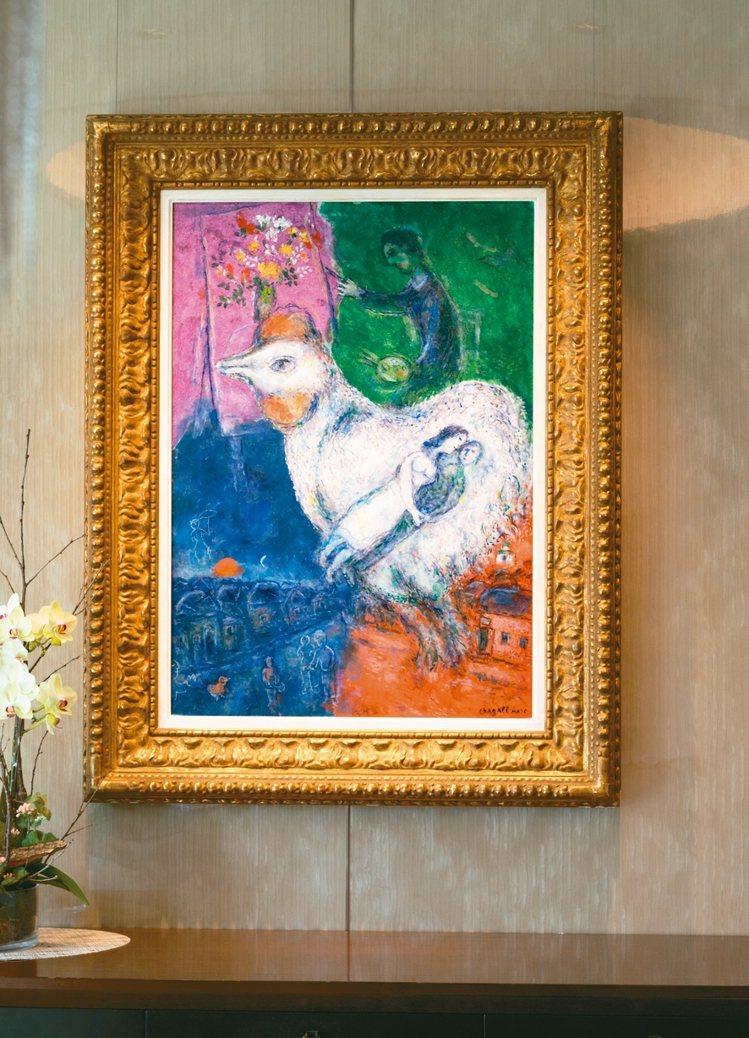 夏卡爾畫作《Grand coq blanc》。 記者陳立凱/攝影