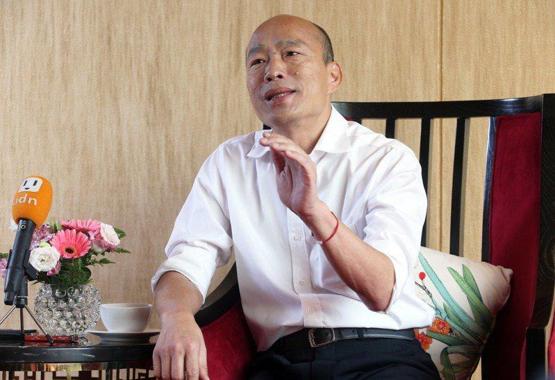 國民黨總統參選人韓國瑜談到未來行政院長人選時表示,他心目中有適當的人選。記者劉學聖/攝影