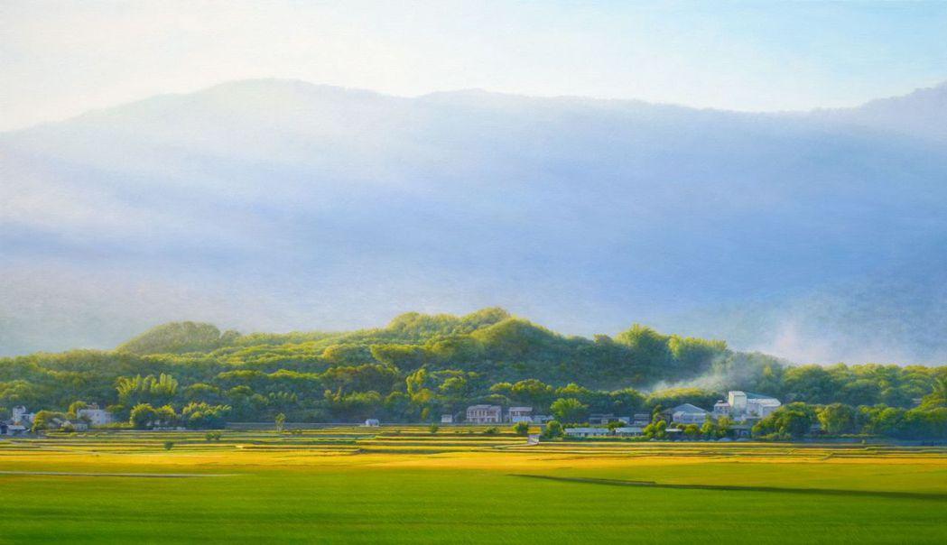 翁明崖的油畫作品-曙光稻禾。  南美館 提供