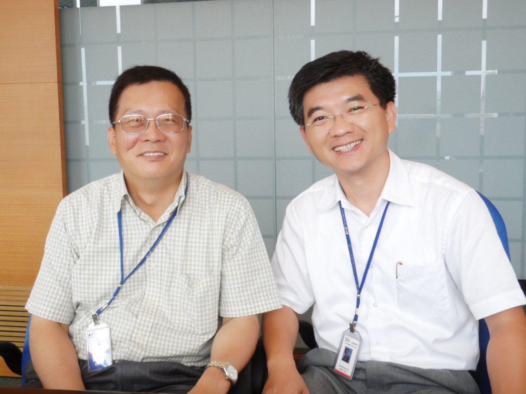 泰創工程董事長陳萬富(左)、太創能源總經理陳德川。 翁永全/攝影
