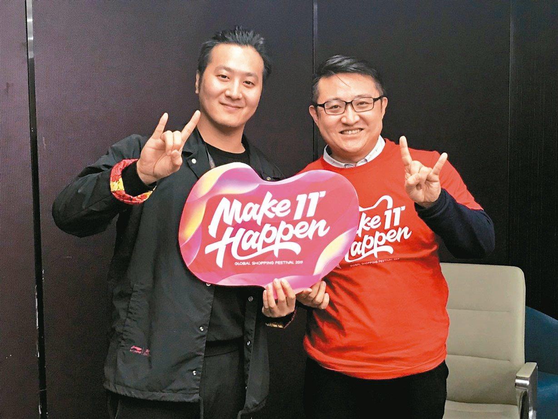 淘寶直播負責人趙陽(右)及謙尋控股CEO奧利。 記者蔡銘仁/攝影