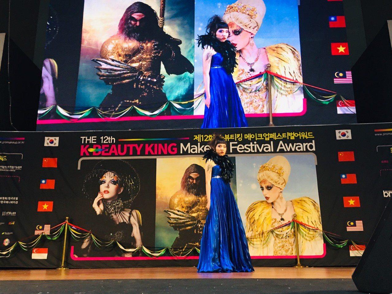 榮獲第一名的「藝術新娘彩妝現場組」上台展示。圖/校方提供
