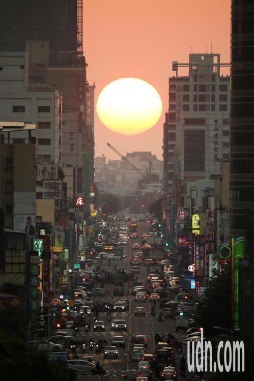 高雄青年路懸日景觀再現,11月14日之前能看到落日美景。 聯合報系資料照