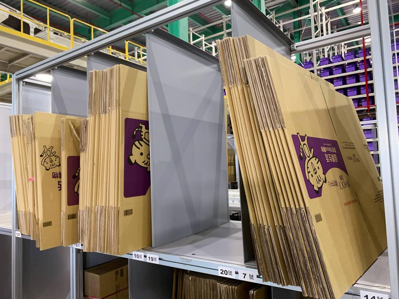 訴求環保議題,Yahoo奇摩引進新型態紙箱減量油墨30%。記者徐力剛/攝影