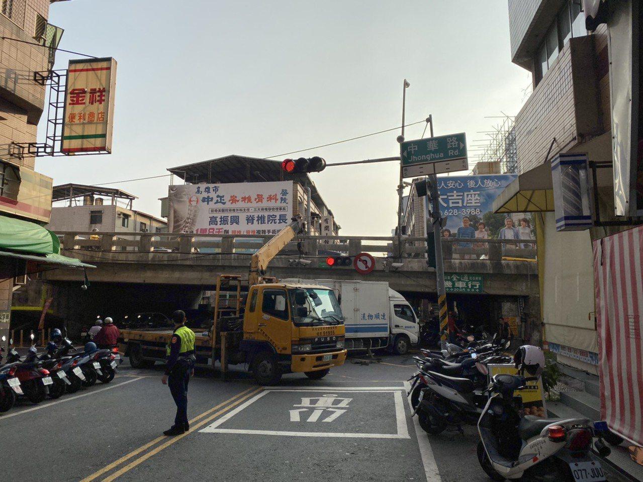 物流貨車過陸橋疑未注意限高,自撞陸橋翻覆阻交通。圖/翻攝畫面