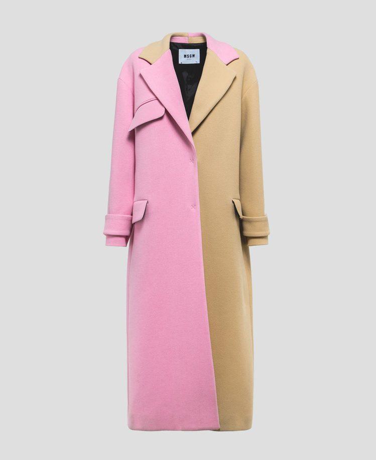 女裝粉駝拼色大衣,47,800元。圖/MSGM提供