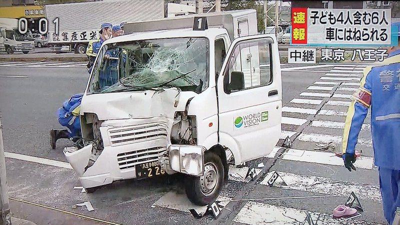 日本媒體拍攝的車禍現場。圖/取自網路