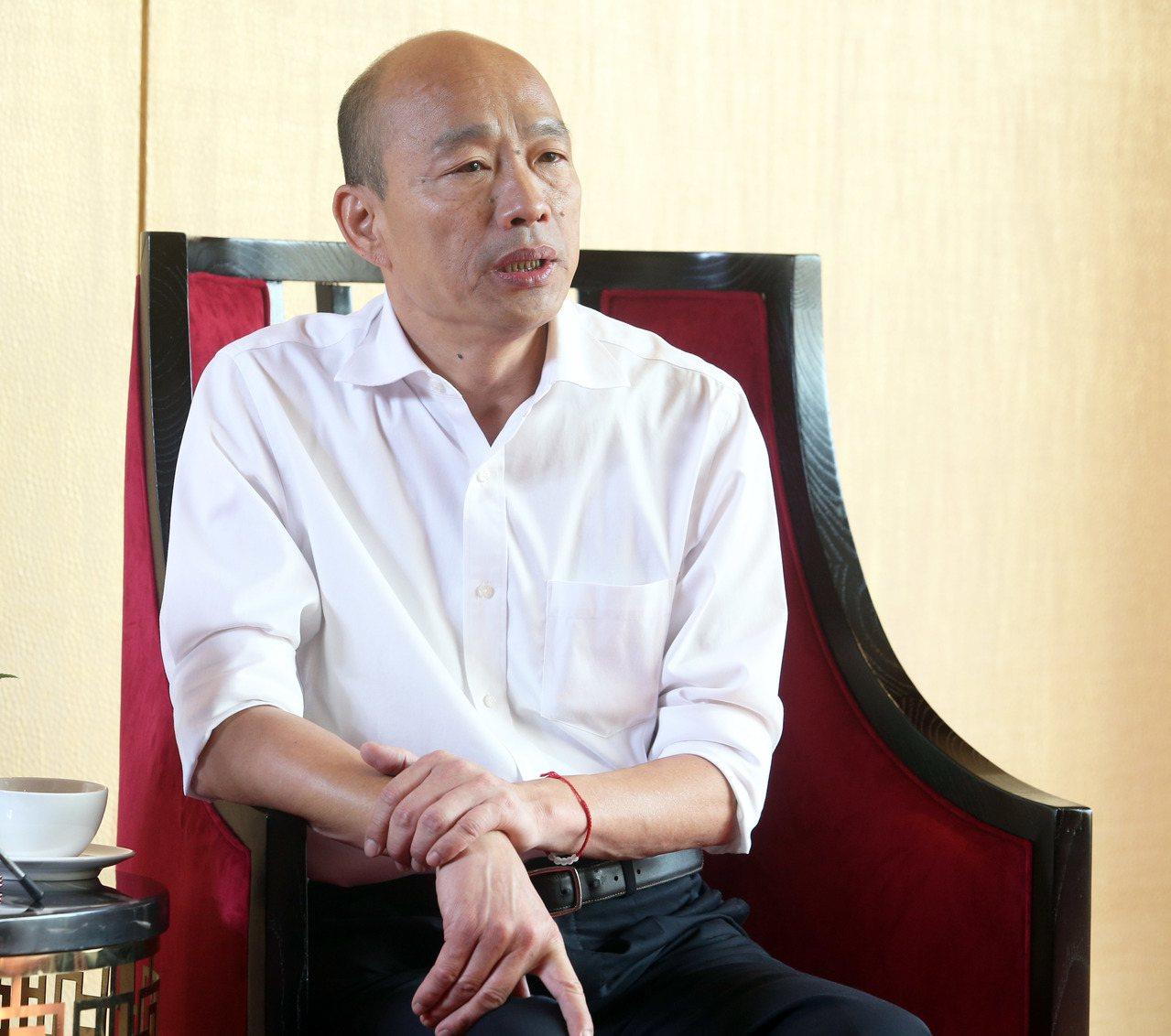 國民黨總統參選人韓國瑜今接受聯合報專訪。記者/劉學聖攝影