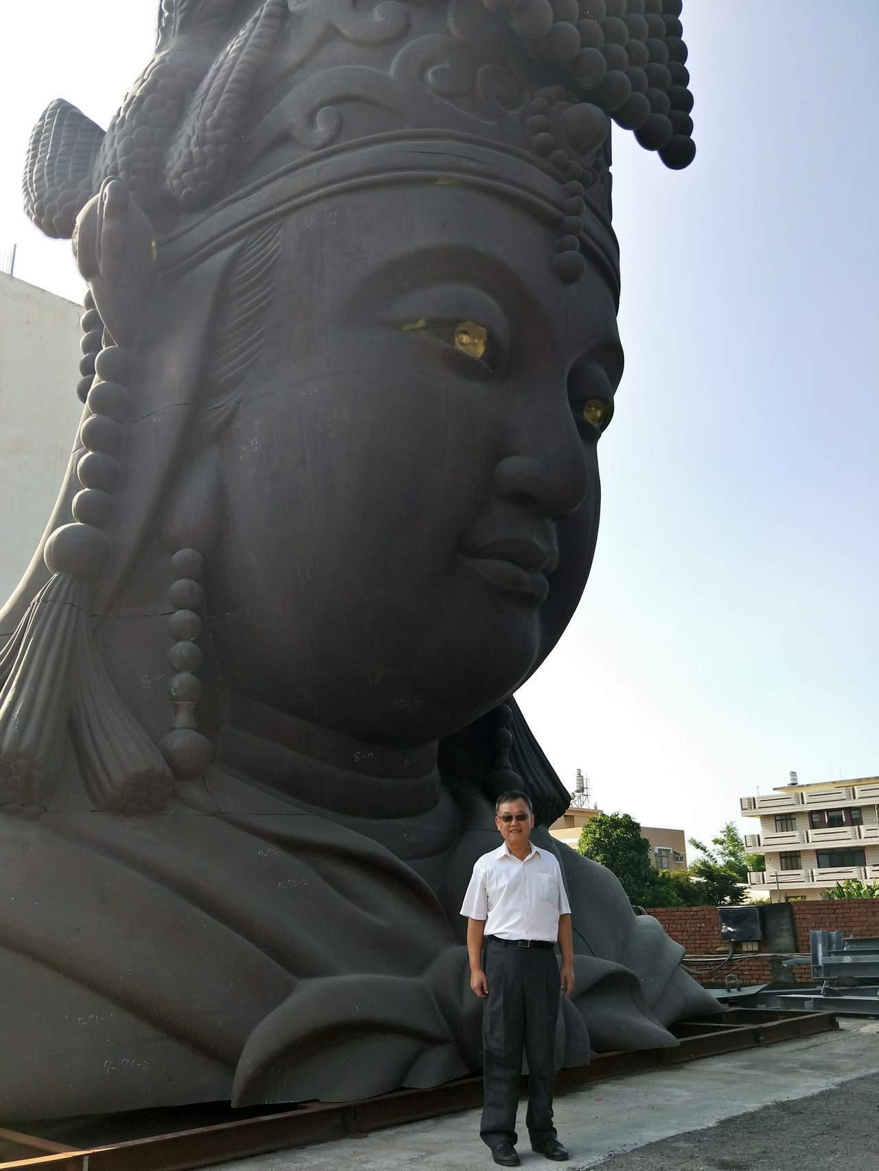 澎湖大倉島媽祖文化園區停建後,已完成的神像暫置在彰化。圖/澎湖縣政府提供