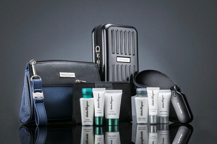 長榮航空邀請Salvatore Ferragamo設計迷你行李箱硬殼式過夜包,顏...