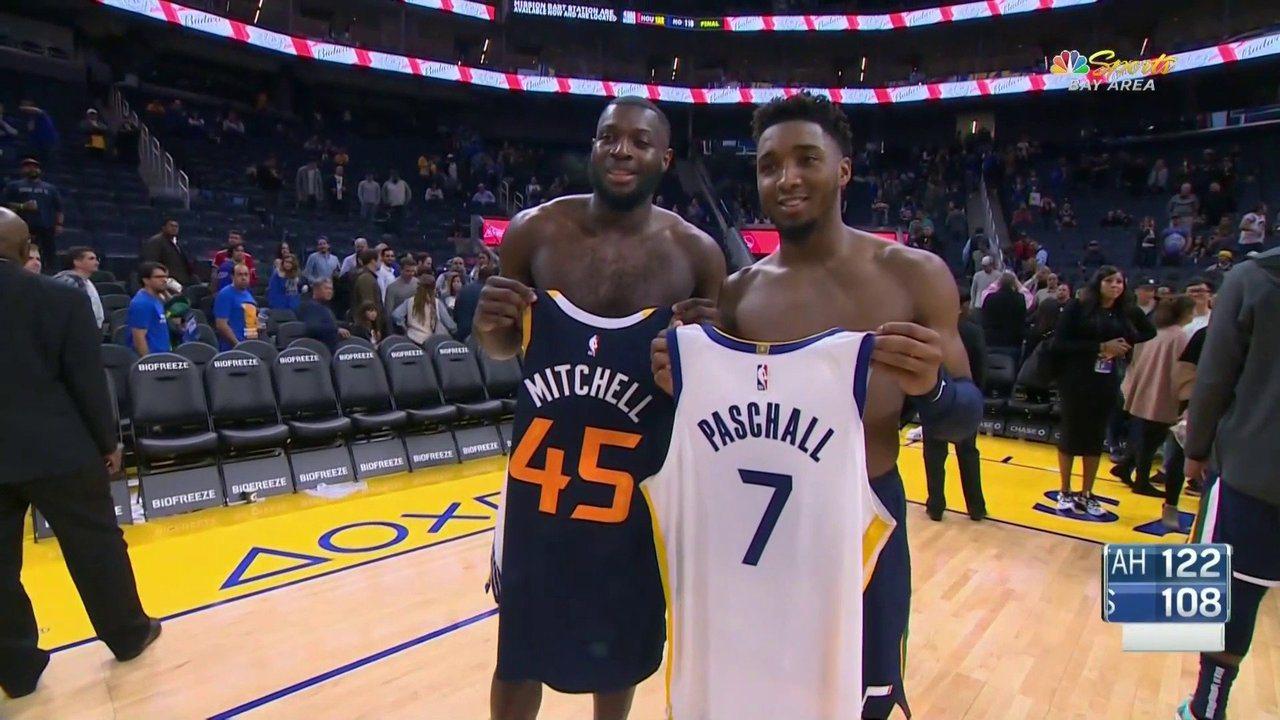 同樣出生於紐約的米契爾與帕斯柯爾是死黨,如今同在NBA場上打拼,兩人今天賽後也交...