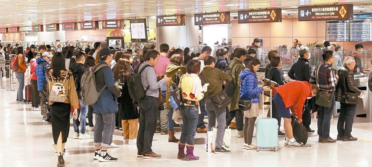 今年春節期間桃園機場入出境旅客刷新紀錄。圖為桃園機場第二航廈入境旅客排隊等候證照...