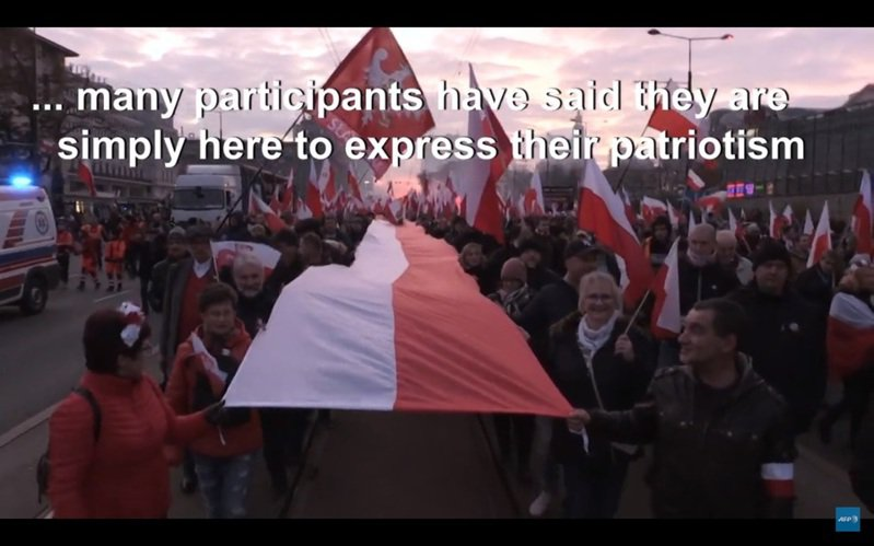 波蘭11日的獨立紀念日遊行被極右派染色,波蘭極右派的目標是建立天主教的國族認同。(Photo by 影片截圖)