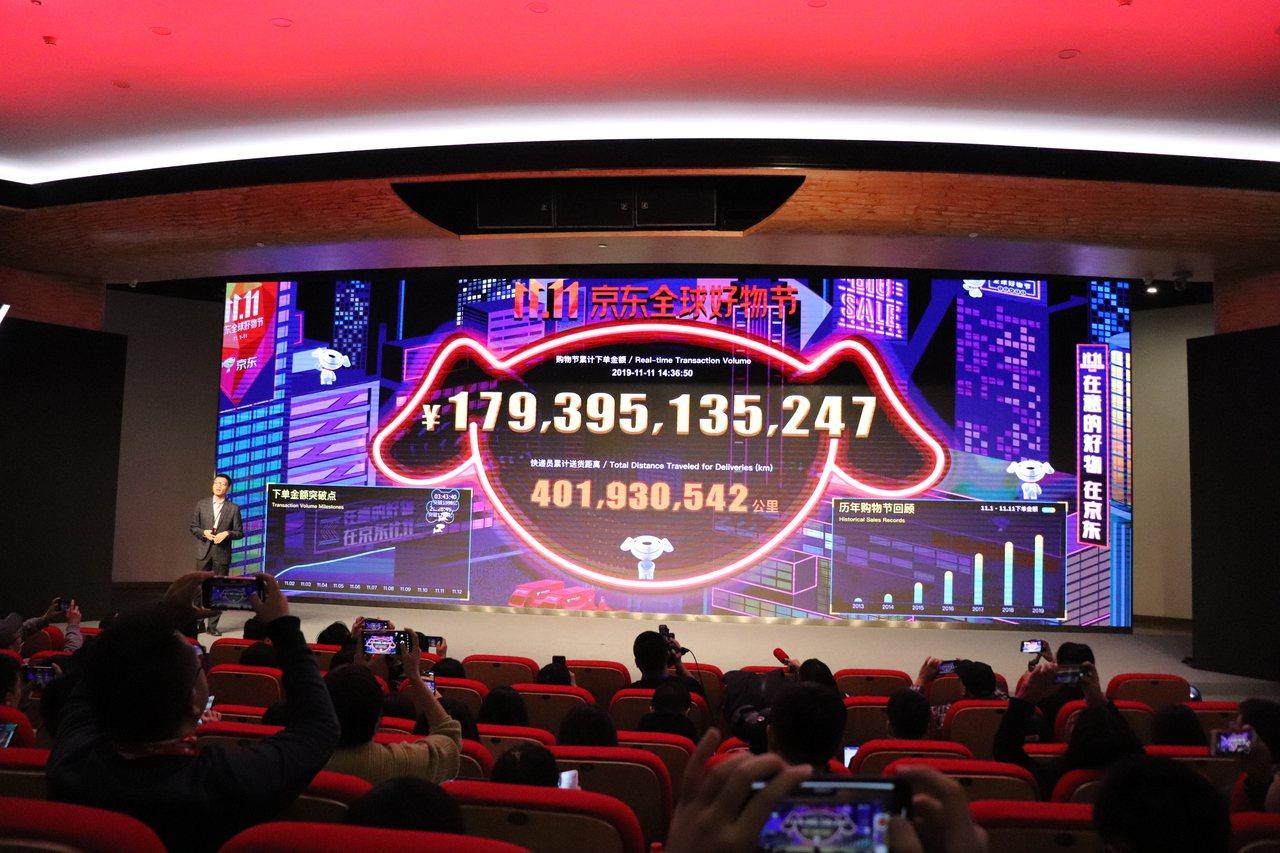 京東大數據研究院首席數據官劉暉在昨天發布會上首先秀出京東不斷更新的成交額數字。記...