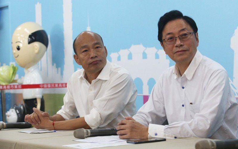 國民黨總統參選人韓國瑜昨天宣布副手人選為前行政院長張善政。 聯合報記者劉學聖/攝影