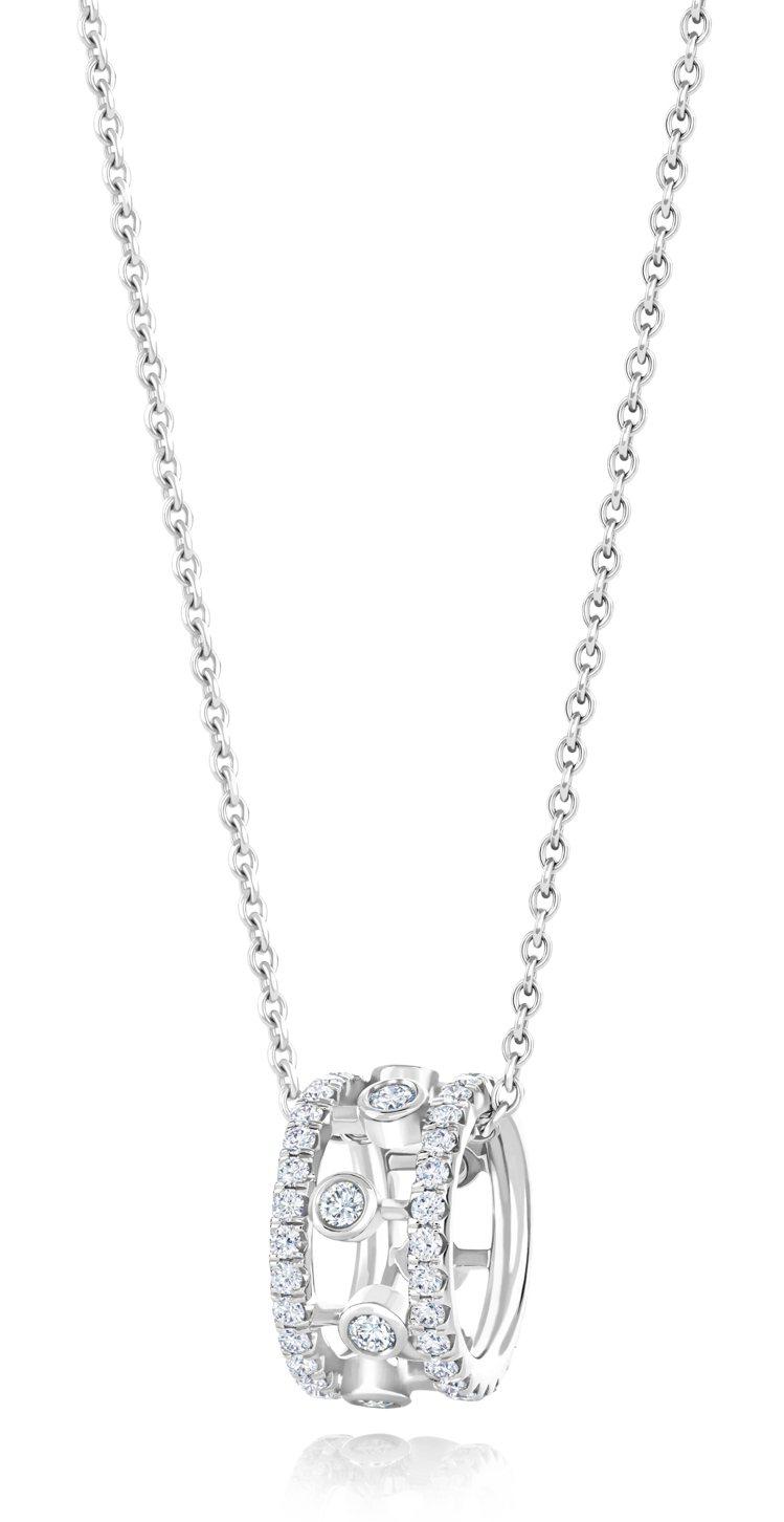 De Beers Dewdrop 18K白金鑽石鍊墜,約11萬元。圖/De Be...