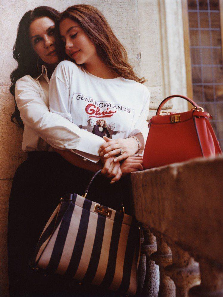 凱薩琳麗塔瓊斯和女兒凱莉絲道格拉斯首度一同入鏡,拍攝FENDI微電影。圖/FEN...