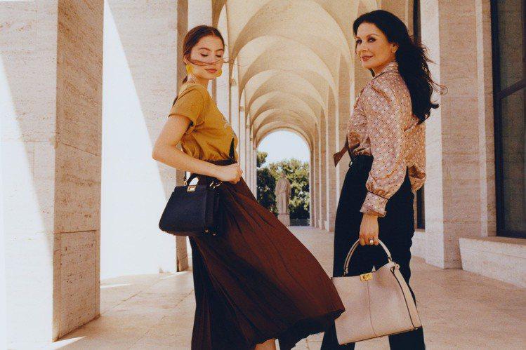 凱薩琳麗塔瓊斯和女兒凱莉絲道格拉斯首度一同入鏡,在羅馬拍攝FENDI微電影。圖/...