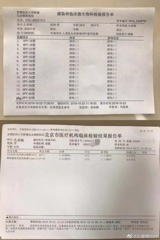 孔垂楠出示檢驗報告自清。圖/摘自微博