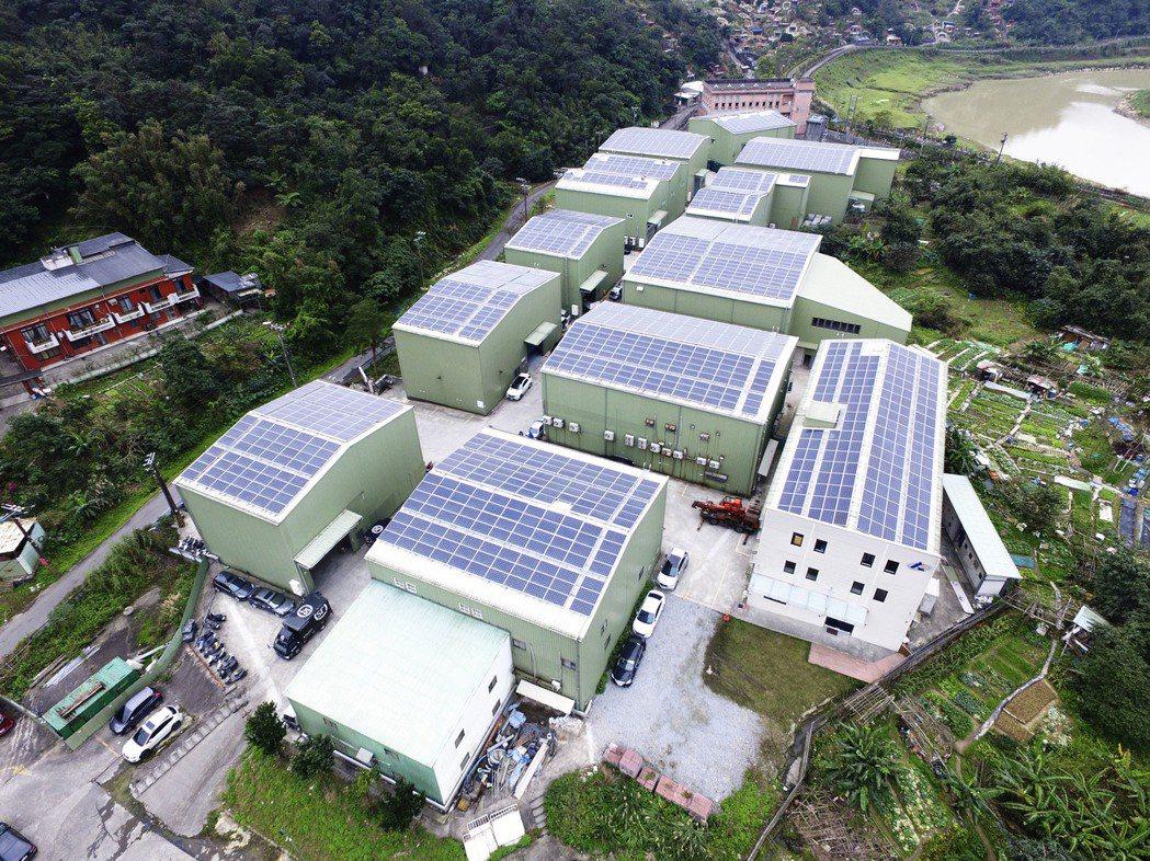 太陽光電設置示意圖,圖為新北市汐止工業區內最大陽光工廠。圖/新北市政府提供