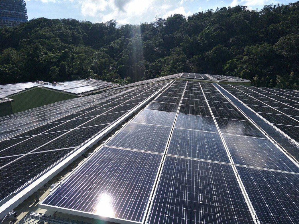屋頂設置太陽光電示意圖,圖為新北市汐止工業區內最大陽光工廠。圖/新北市政府提供