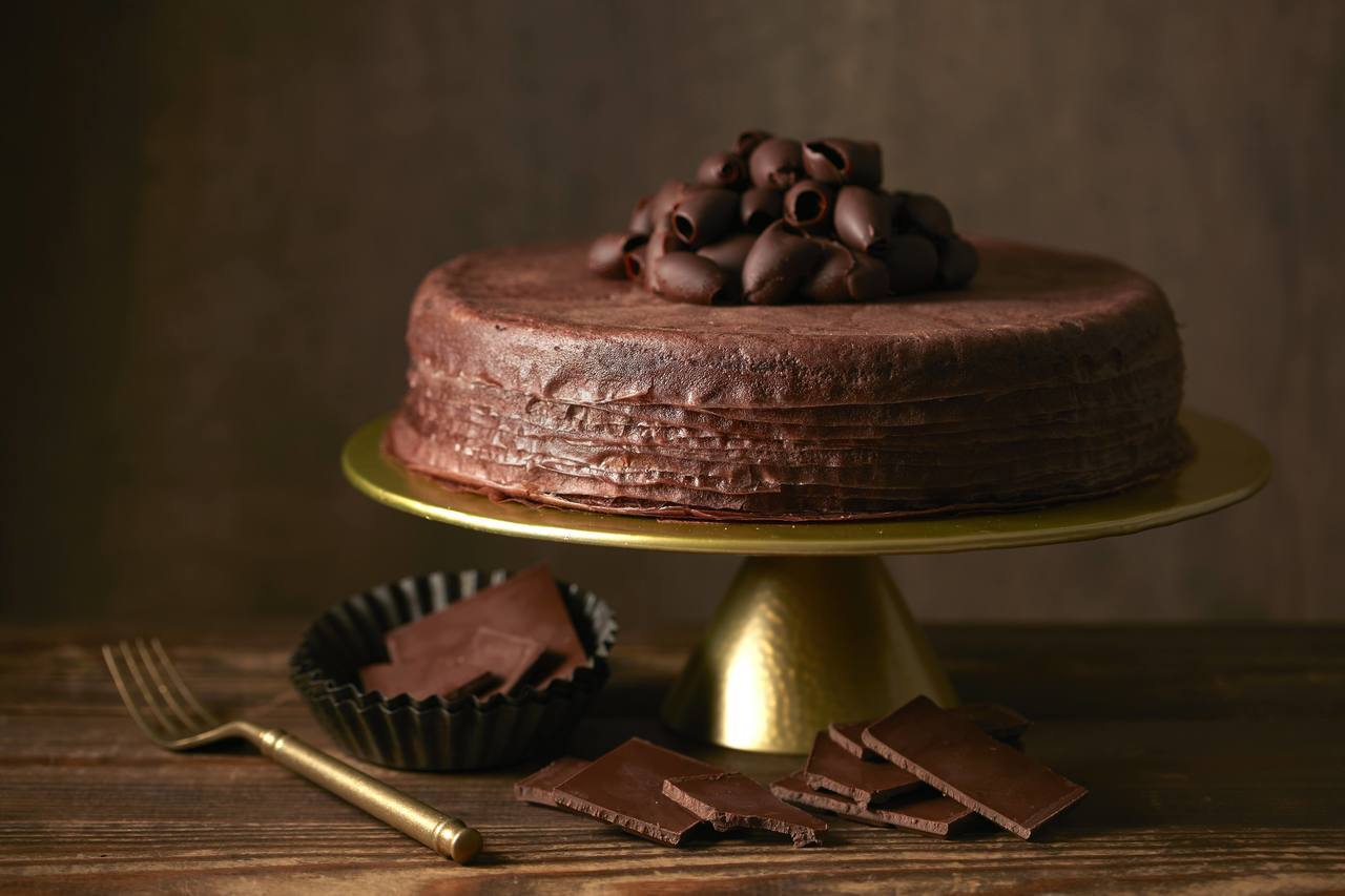 Lady M巧克力千層蛋糕,單片280元,九吋2,800元。圖/Lady M提供