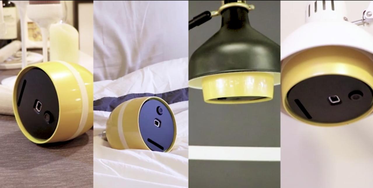 「智能投影燈泡」可透過常見的E27接頭,輕鬆安裝於燈座上。圖/新明青年創業基地提...